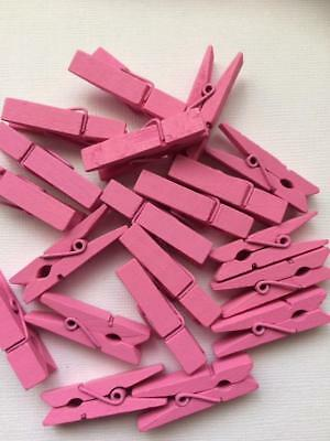 BB SMALL PEGS PRETTY PINK bigger 35mm pk of 20 wooden mini peg wood clothespin