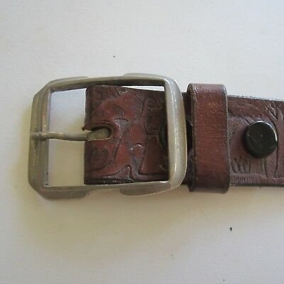 116CM X 3 CM VINTAGE Tooled leather belt 1970s Brown Handmade Australiana