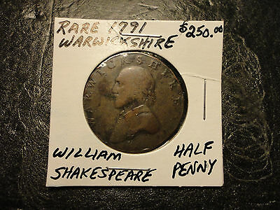1791 Rare Warwickshire William Shakespeare Half-Penny   We Combine Shipping