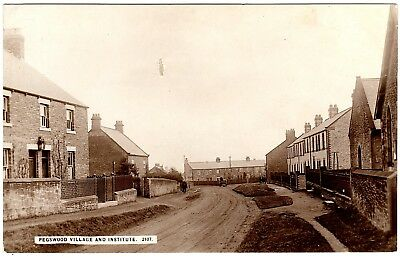 Rare Early Real Photo Postcard Pegswood Village And Institute-Northumberland