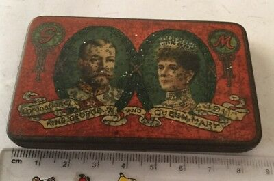1911 CORONATION KING GEORGE V & QUEEN MARY CADBURY CHOCOLATE TIN with wrapper