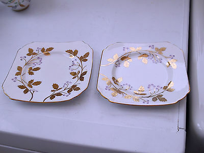 Two 1951  +  Royal Stuart China Side Plates  Purple Berries And Gold Leaves