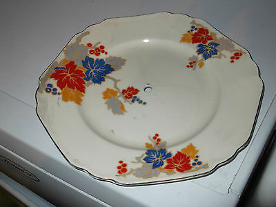 Art Deco Style Floral Pattern Cake Stand Plate British Made