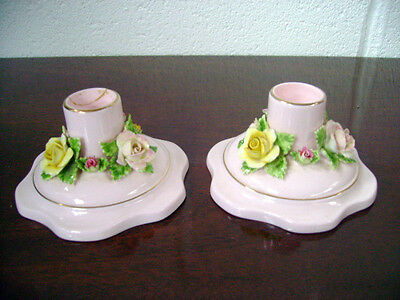 A Pair Of Adderley Floral China Pink Candlesticks With Flowers Round Base