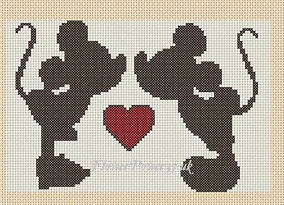 Cross stitch chart Ideal Card size -Mickey & Minnie in love  FlowerPower37-uk