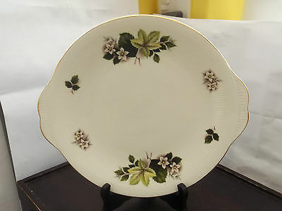 Twin-Handled Bread Plate By Dorchester China  With Green & White Floral Pattern