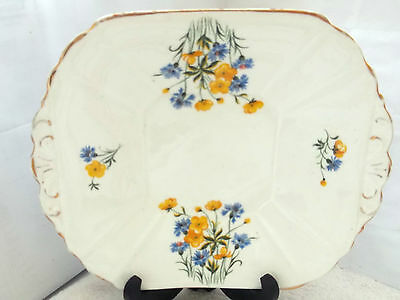 Crown China Twin - Handled Square Bread Plate Buttercups And Corn Flowers