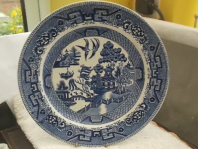 1880+ W Ridgway Blue And White Willow Pattern Dinner Plate