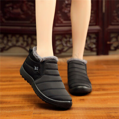 Womens Winter Fur-Lined Slip On Flats Ankle Snow Work Boots Warm Formal Shoes