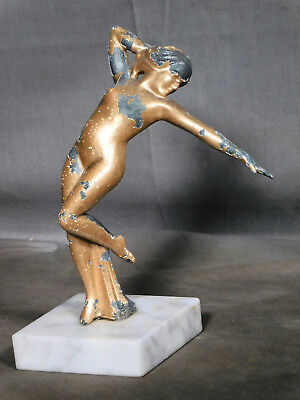 Vintage Modern ART DECO Metal Marble White Metal Nude Female Dancer JAZZ
