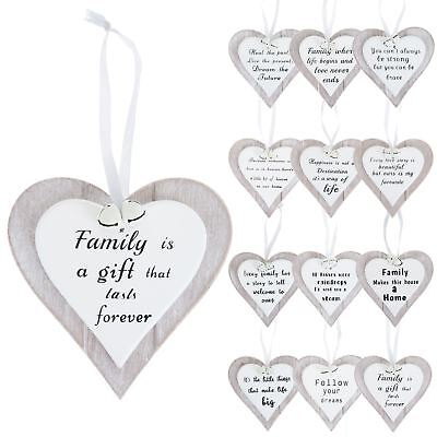 Inspirational Quote Grey Wooden Heart Christmas Hanging Decoration White Bells
