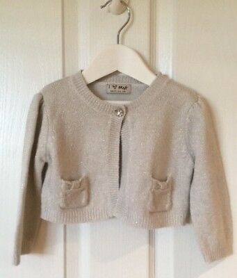 Next Baby Girls Gold Bolero Cropped Occasion Cardigan Christmas Party 12-18