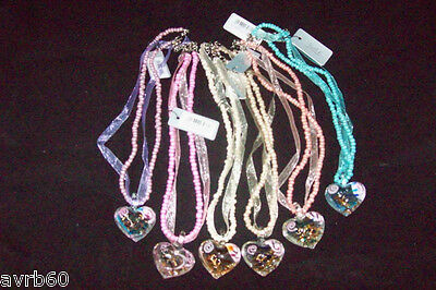 "necklace with glass patterned heart 16/"" seed beaded and ribbon pendant new"