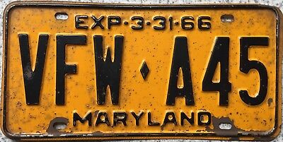 GENUINE 1966 Maryland Veteran of Foreign Wars License Licence Number Plate A45