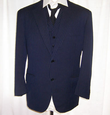VINTAGE 1960's BESPOKE FITTED PINSTRIPE MOD SUIT WAISTCOAT & JACKET 42 CHEST