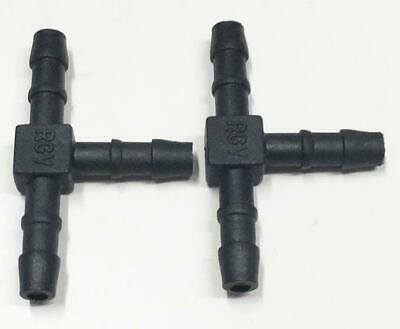 2 x 5mm T Piece In-Line Hose Tube Pipe Connector Joiner Air Fuel Water