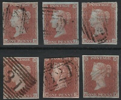 1841 SG8 1d RED BROWN (SHADES) 1844 CANCELS PLATED SELECTION 3