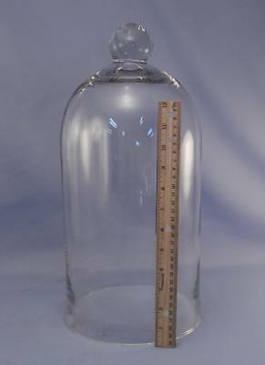 """Large 16"""" Tall Antique Glass Cloche Dome Bell Jar~Vacuum~Apothecary~Display"""