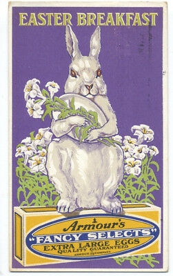 ARMOUR'S EASTER BREAKFAST EGGS - Big RABBIT Holds Egg Lillies GREAT 1913 Ad RARE