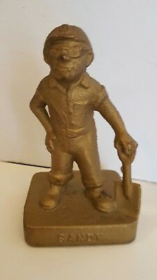 Antique MIDWEST Foundry Advertising Cast Iron Doorstop Sandy fdy worker book end
