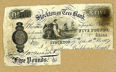 1887  Stockton on Tees Bank,  £5  Banknote  Circulated Condition   (O1088)