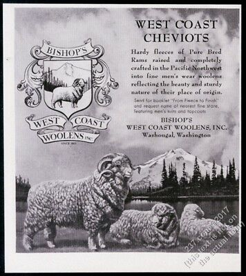 1956 Cheviot sheep art West Coast Woolens vintage print ad