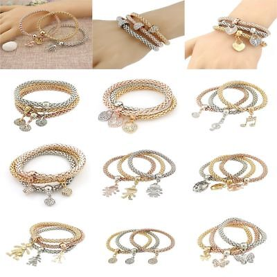 Unisex Bead Pendant 3PCS Set Snake Chain Elastic Bracelet Wristbands Friend Gift