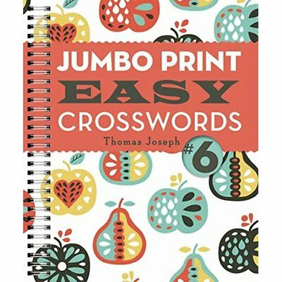 Jumbo Print Easy Crosswords #6 (Large Print Crosswords) - Spiral-bound NEW Thoma