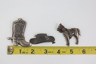 Vintage - Tin Metal Western Cowboy Boot / Hat / Horse Lot - Made In Japan -