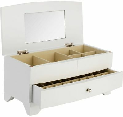 White Wooden Six Compartment One Drawer Jewellery Box RRP 24.99 lot B2050
