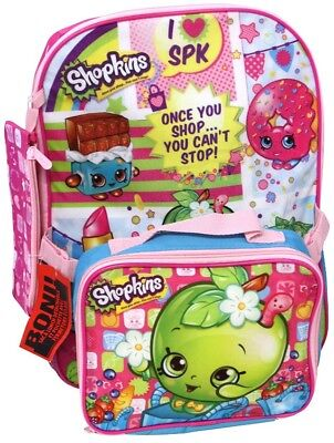 SHOPKINS (Officially Licensed) Backpack with Pencil Case and Lunch Bag NWT