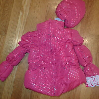 NWT NEW Young Hearts Girl Pink Bow Coat Jacket Hat Size 4t Pretty Gorgeous Cute!