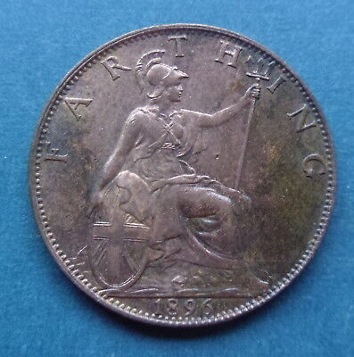 1896 One 1 Farthing Coin Queen Victoria