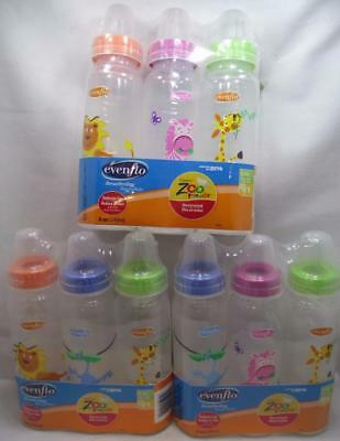 Even Flo Classic Zoo Friends Baby Bottles 0-3M 8 oz Slow Flow 1 Pack of 3 CHOICE