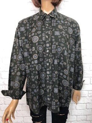 ❤️ Vintage UNISEX 90's Faded Black Paisley Baroque Hipster Blogger Shirt