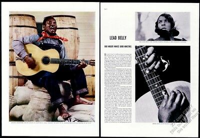 1937 Lead Belly great color photo vintage print article
