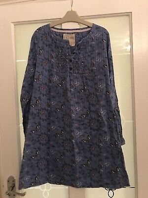 Fat Face Girls Blue Butterfly Print Cotton Smock Top Age 12-13 Years Vgc