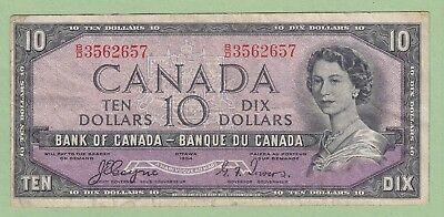 1954 Bank of Canada 10 Dollar Note Devil's Face - Coyne/Towers - B/D3562657-Fine