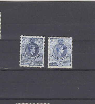 Two very nice unused Swaziland George VI 3d issues Two shades