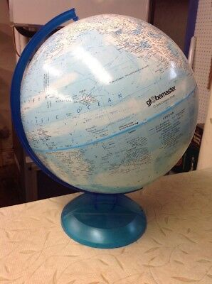 Vintage Globemaster Blue Base 12 Inch Diameter World Globe Classic Raised Relief