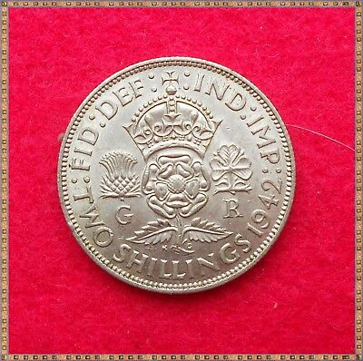 1942 GEORGE VI SILVER FLORIN/ TWO SHILLINGS (2/-) COIN. nice grade.