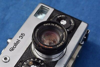 ROLLEI 35 with Rollei-HFT Sonnar 2.8/40 lens film camera, lanyard VINTAGE NICE!