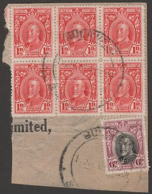 Southern Rhodesia 1931 KGV Field Marshal 1d Block of 6, 6d Used on Piece