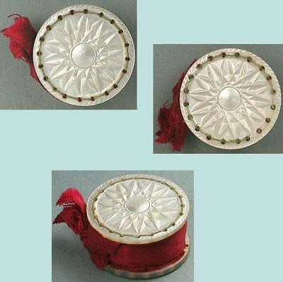 Antique Carved Mother Of Pearl Emery / Pin Cushion * Circa 1850