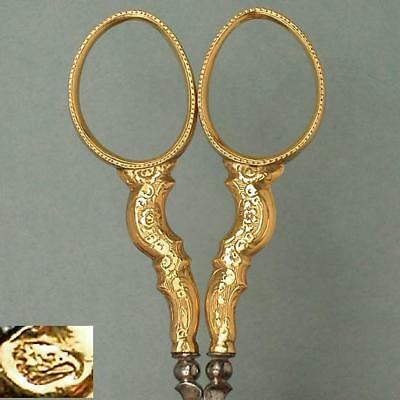 Antique 18 Kt Gold French Embroidery Scissors * Circa 1890s