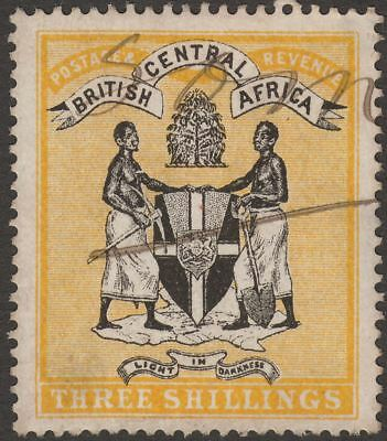 British Central Africa 1895 QV 3sh Black and Yellow Fiscally Used SG27 thins