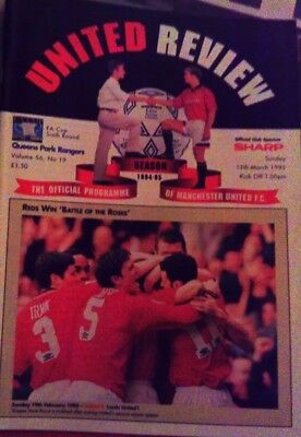 Manchester United V Queens Park Rangers Fa Cup Programme 1994/95