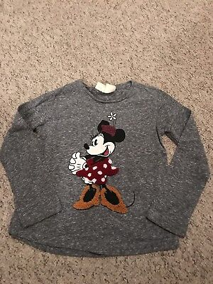 Zara Girls Grey Disney Minnie Mouse Long Sleeved Top Age 5 Years VGC