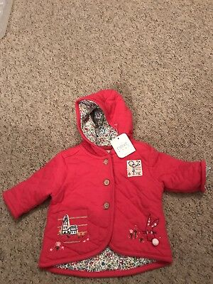Next Baby Girls Little Bird / Bunny Pink Floral Lined Jacket Age 0-3 Months BNWT