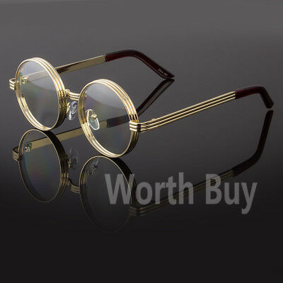 New Funk Clear Lens Round Steampunk Retro Fashion Eye Glasses Hipster Gold Frame